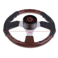 320mm 12.6 Wooden 3 Spoke Boat Marine Steering Wheel Shaft 3/4''