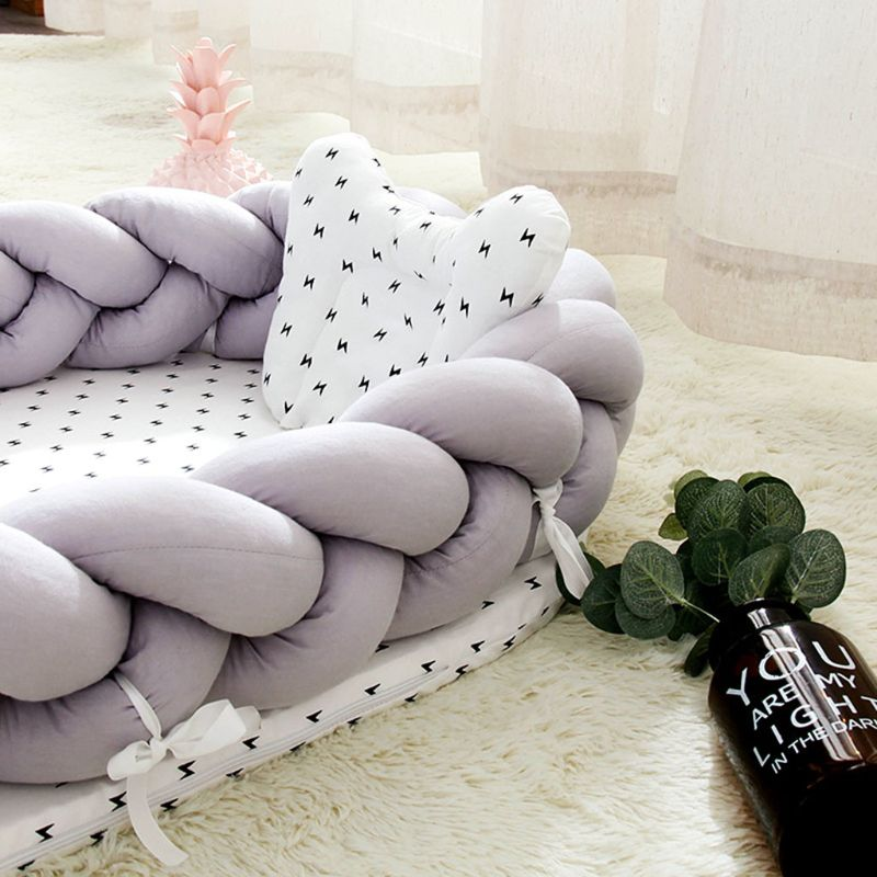 Portable Baby Knit Crib Newborn Sleeping Nest Soft Breathable Cotton Lounger with Anti-collision Bumper