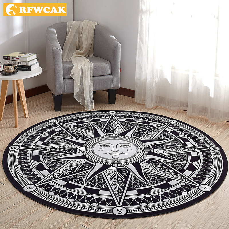 RFWCAK Greece Sun God Round Carpet For Living Room Computer Chair Area Rug Children Tent Floor Mat Tapete Para Sala Decoration