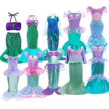 Girls Little Mermaid Halloween Princess Costume Children Ariel Dress Kids Christmas Carnival Birthday Party Fancy Outfit Clothes