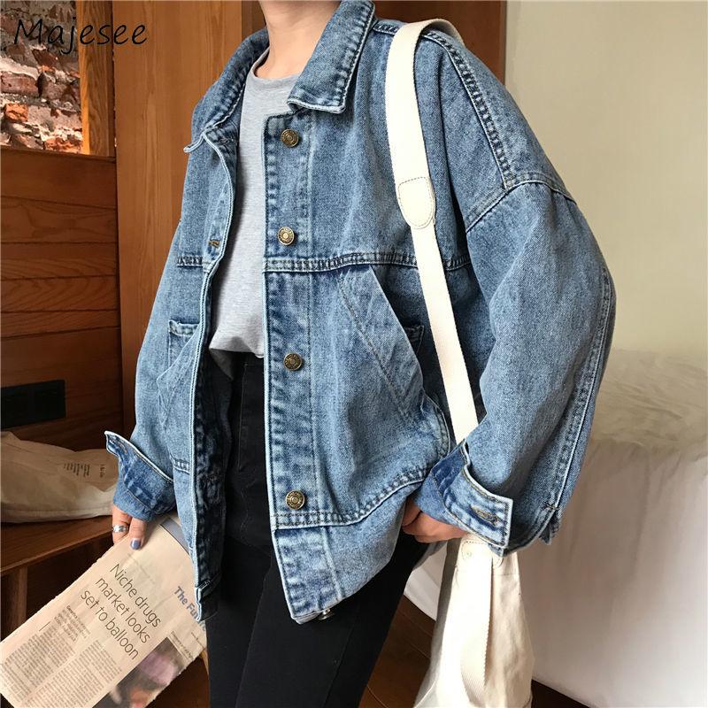 Jackets Women Short Denim Blue Simple Loose Retro Leisure Daily Womens Clothing All-match Chic Females Harajuku Korean Style New