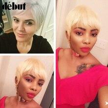 Дебютный бразильский Реми короткий Боб человеческие волосы парики для черных женщин блонд парики человеческие волосы 613 Омбре короткие прямые человеческие волосы парики