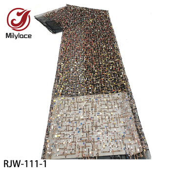 Milylace African Sequin Lace Fabric 2020 High Quality Lace French Tulle Lace Fabric Nigerian Lace Fabrics for Wedding RJW-111