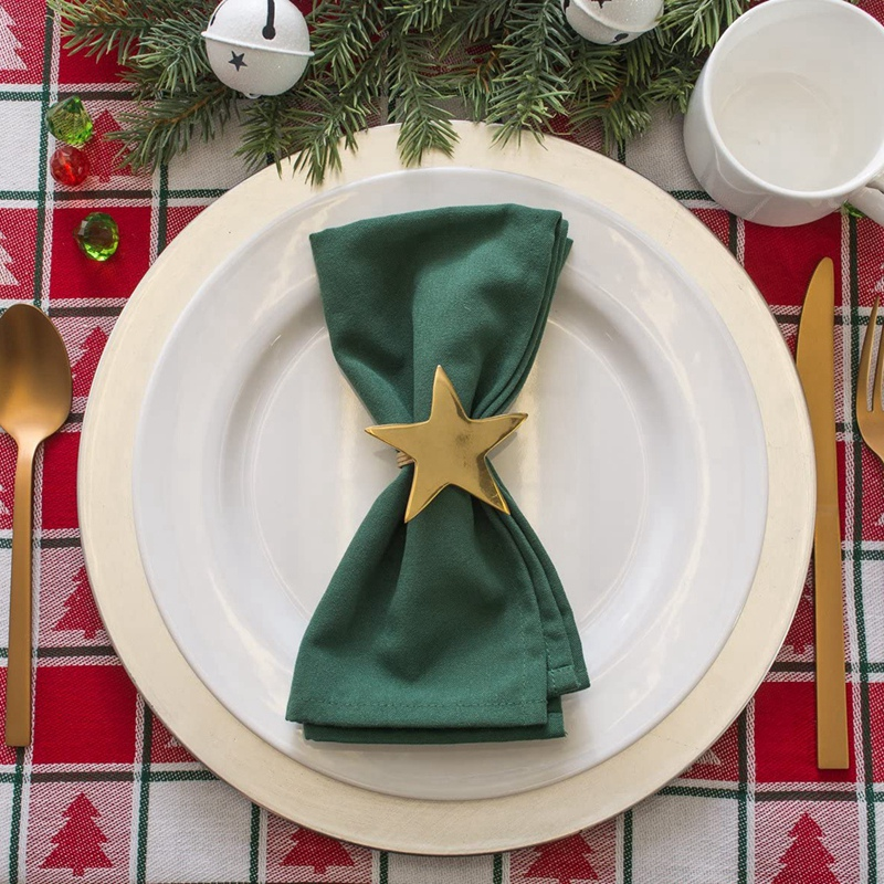 Wrinkle Resistant Polyester Napkin Dark Green, Catering Events, Thanksgiving, Dinner Parties, Weddings and Everyday Use