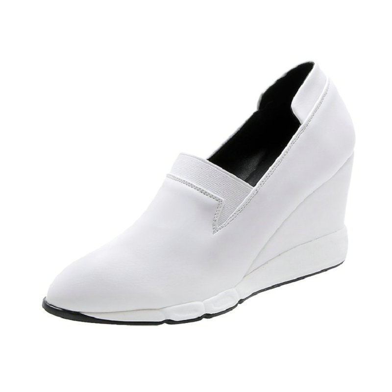 ZawsThia 2020 Spring Autumn Pointed Toe Woman Slip-on Loafer Shoes White Black Casual Leisure Woemn Wedges Pumps High Heels Lady