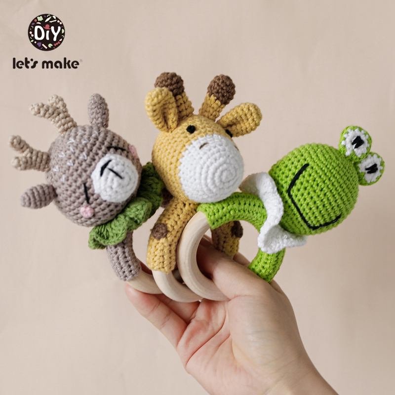 Baby Rattle For Newborns Crochet 1PC Baby Toys 0-12 Months Socks Educational Music Children's Mobile Elk Frog Cow Let's Make
