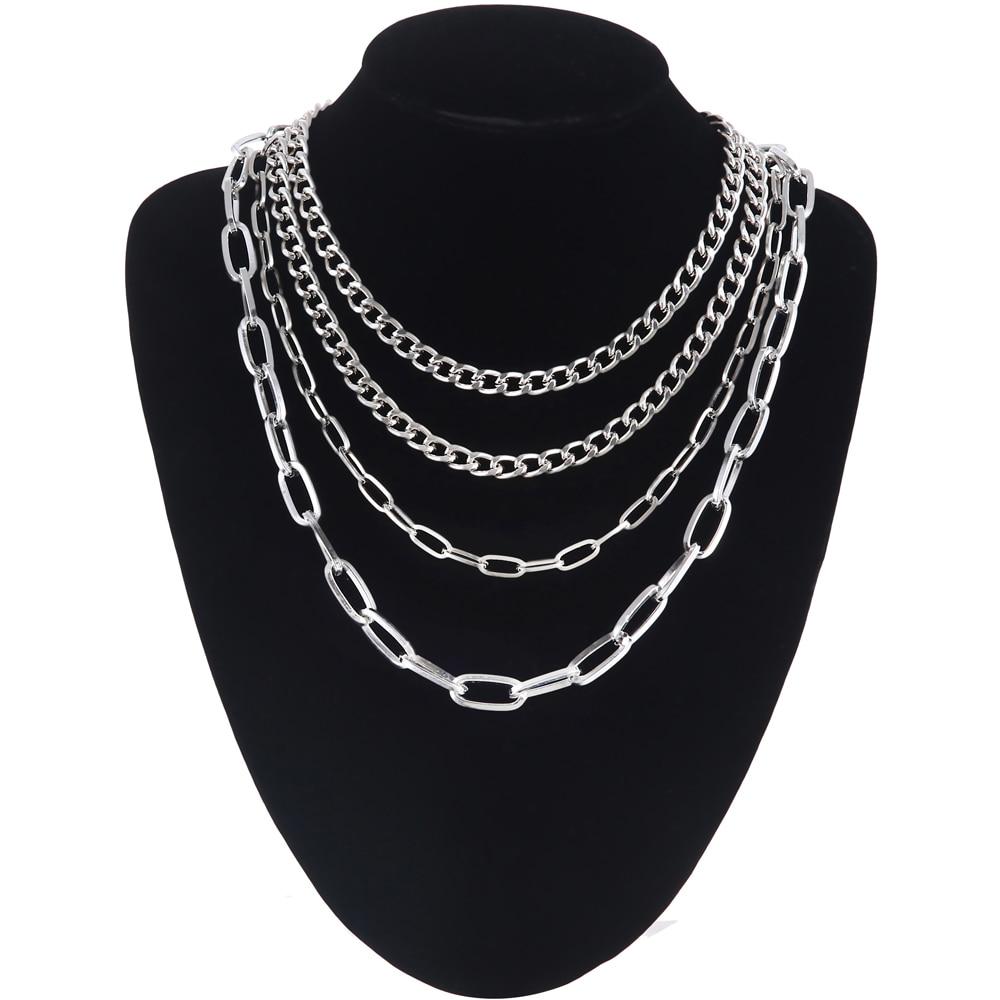 4 pièces/ensemble couche chaîne collier filles multicouche claviclel chaîne femmes femme chocker cou gothique Punk bijoux accessoires