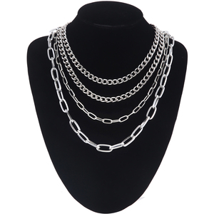 4pcs/set Layer chain necklace girls multilayer claviclel chain women female chocker neck Gothic Punk jewelry Accessories
