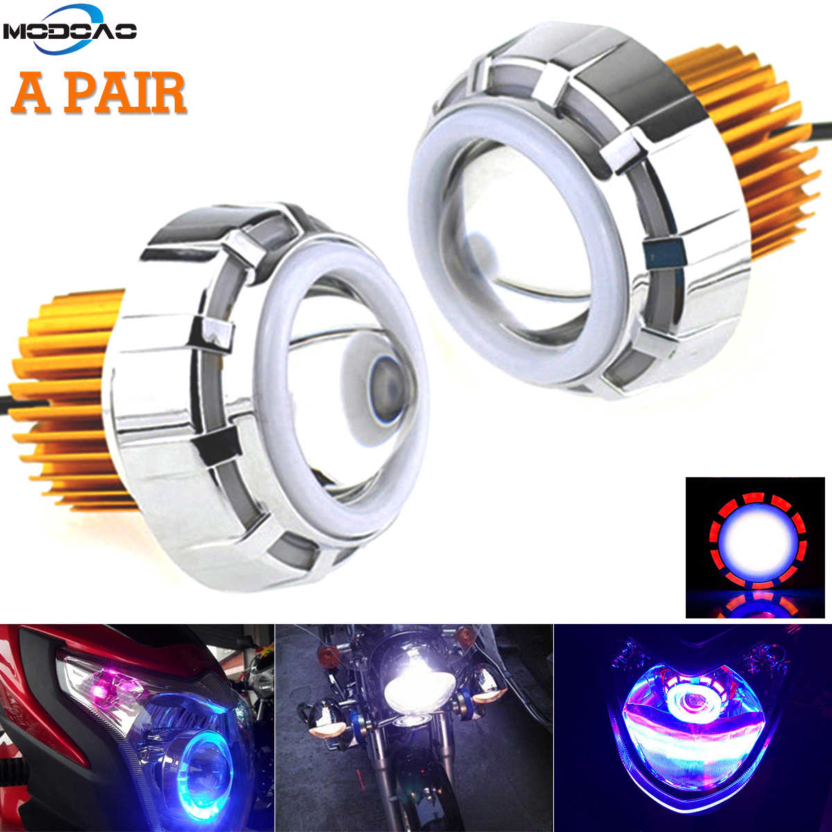 1Pair LED Angel Lens Projector Headlight COB Devil Eyes Bi xenon Spot Strobe Headlamp DIY Car Moto Daytime Running Bulbs