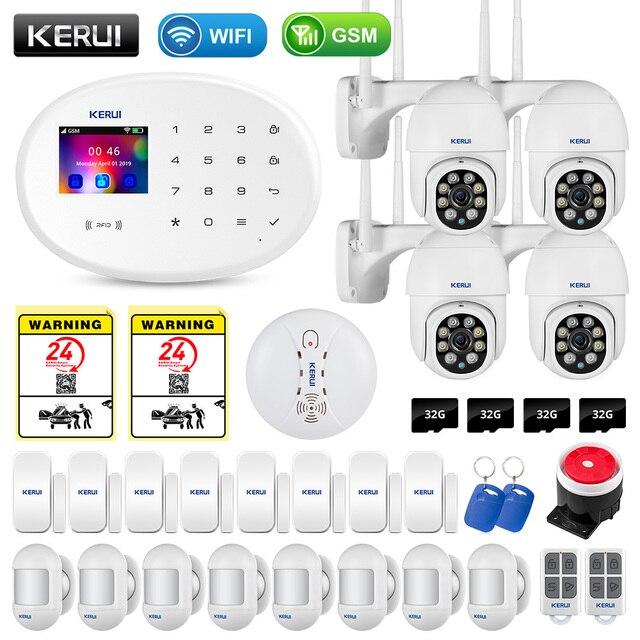 KERUI W20 WIFI GSM Smart Home Security Alarm System APP Control Smoke Detector Door Sensor Burglar Surveillance IP Camera 1
