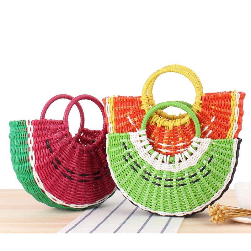 Colorful Fruit Hand Bag Ins Cute Semi-circular Handmade PVC Woven Beach Straw Bag