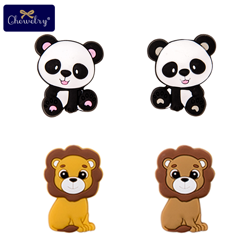 3PC China Panda Silicone Beads Lion Baby Teether Rodent Baby Toy DIY Pacifier Chain Perle Silicone Beads Pendant Kids Products