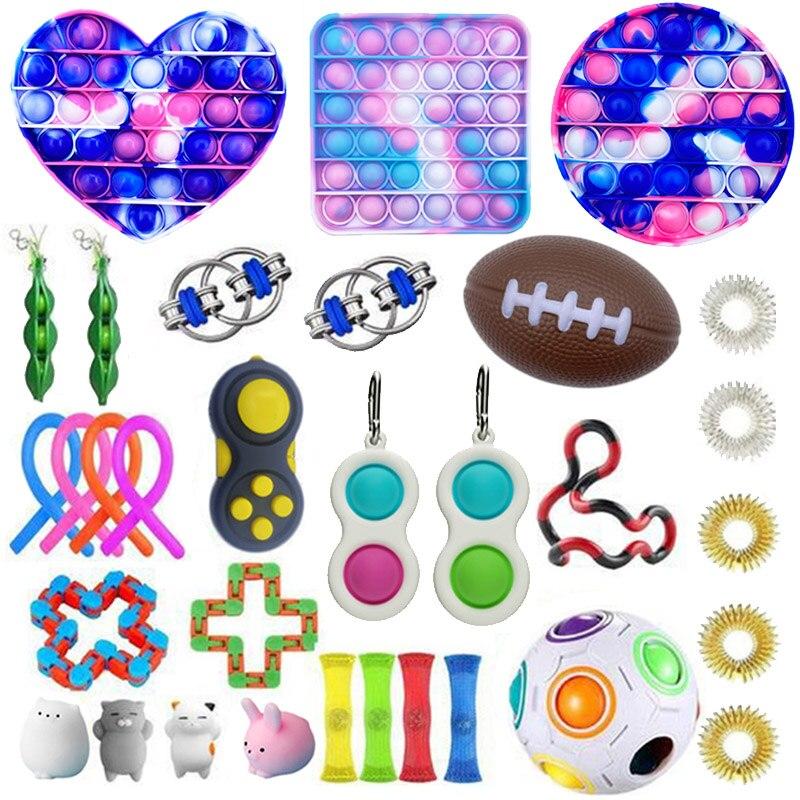 Ensemble de jouets Anti Stress pour adultes et enfants, cordes extensibles Pop It Popit, paquet cadeau, jouets Anti Stress sensoriels |