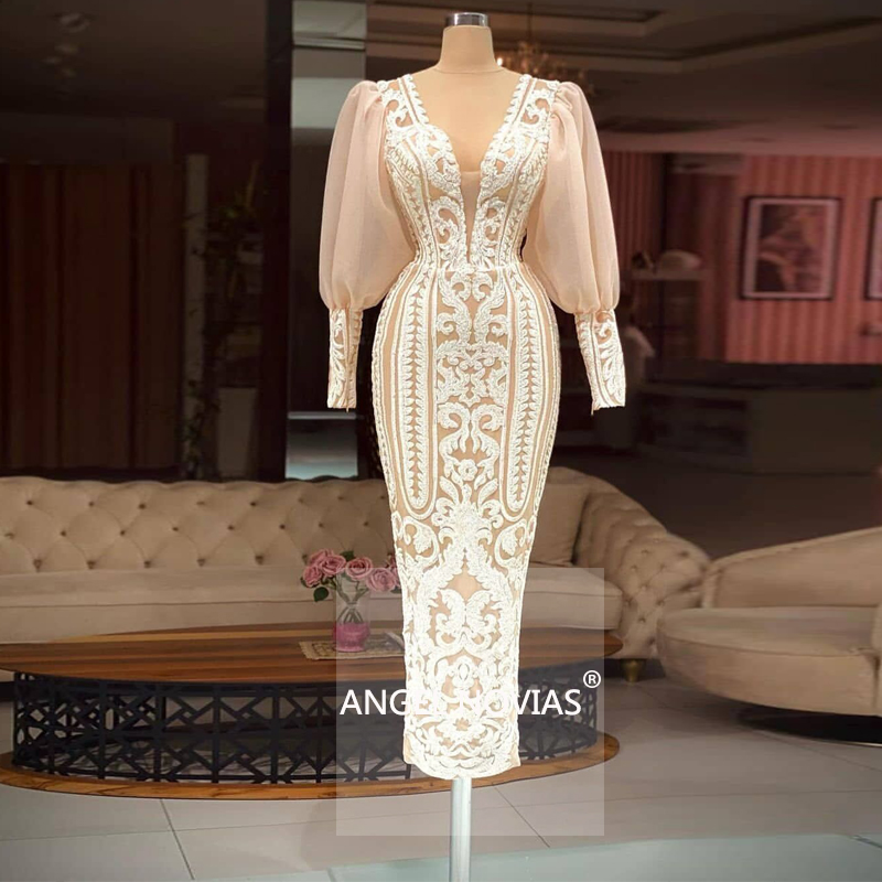 ANGEL NOVIAS Long Sleeves Champagne Lace Arabic Evening Dress 2021 V Neck Robes De Soiree Longue