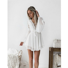 New Girls White Summer Bohemian Mini Dress Women Fashion Spring Solid Lace Casual Clothes V-neck Long Sleeve Dresses