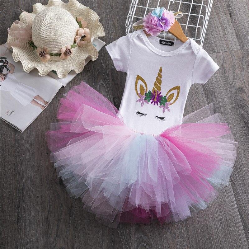 Niemowlę 1 rok dziewczynka sukienka impreza jednorożec Tutu dziewczyny strój noworodka 1 urodziny ciasto Smash sukienki maluch dziewczyna odzież