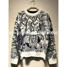 Свободный свитер с вышитым растительным узором, высококачественный Женский Повседневный кашемировый свитер с длинным рукавом