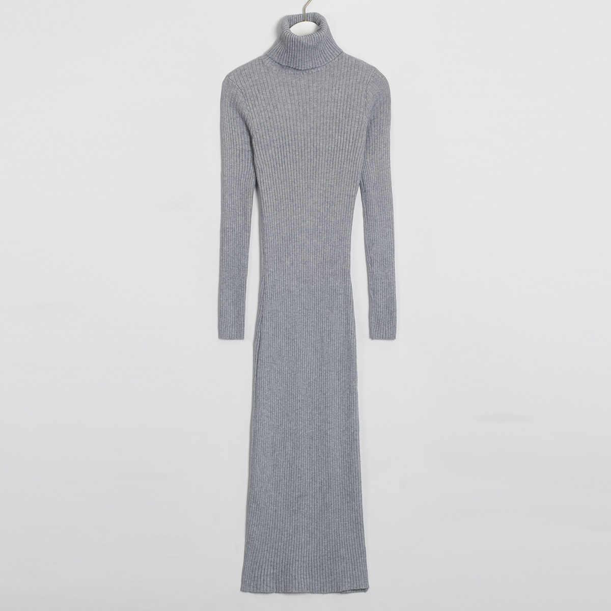 Wixra ニットボディコンドレス 2019 秋冬ソリッドタートルネック長袖膝丈のセータードレス