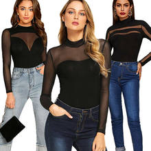 Vrouwen Body Sexy Lace Mesh Sheer Stiksels Lange Mouwen Bodycon Bodysuit Mode O Hals Casual Rumpers Vrouwelijke Skinny Bodysuit(China)