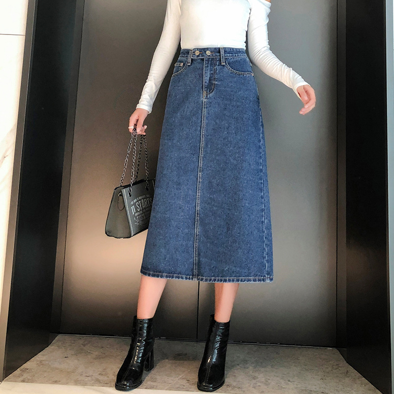 Photo Shoot Denim Skirt Skirt Women's 2019 Autumn And Winter New Style Mid-length High-waisted Large Size Dress 200 5820