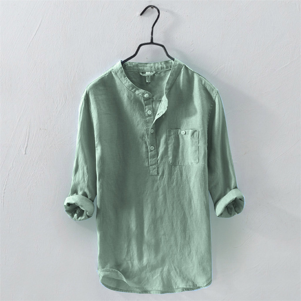Helisopus New Summer Men Shirt Long Sleeve Cotton Linen Casual Shirts Men Single Breasted Solid Color Stand Collar Tops