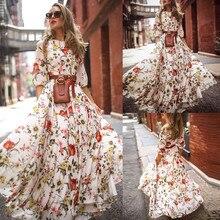 2019 Summer Long Dress Floral Print Boho Beach Dress Tunic Round Neck Maxi Dress Women Evening Party Dress Sundress  XL