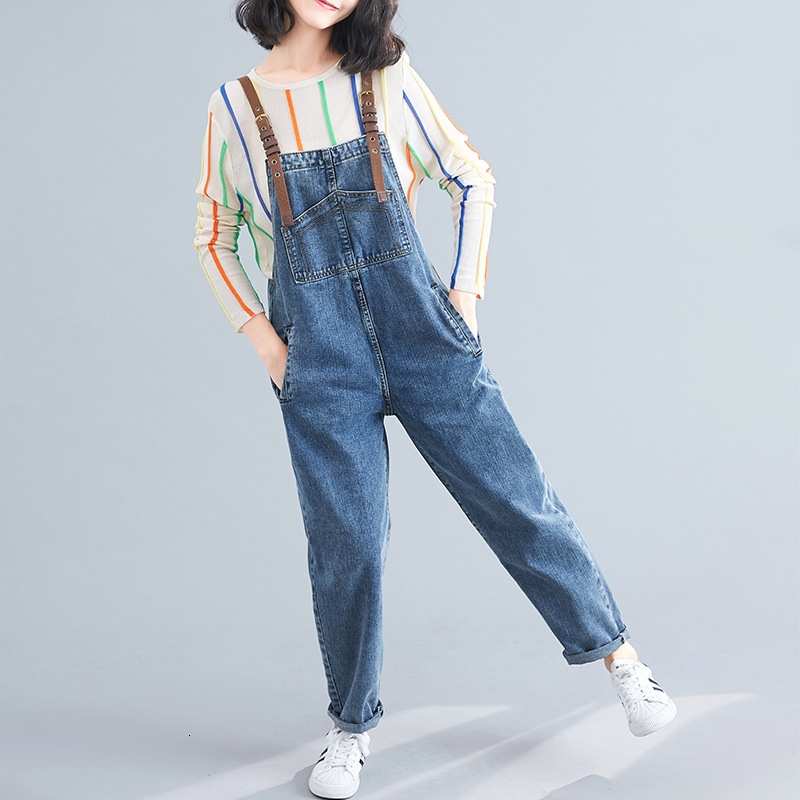 Casual Washed Denim Rompers European Style Suspenders Jean Jumpsuit Plus Size Bib Cowboy Overalls Women Baggy Blue Jeans