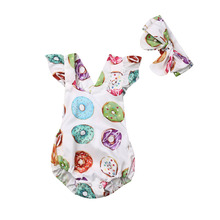 Baby Clothes Newborn Infant Baby Girls Sleeveless Donut Print Bodysuit Outfits Clothes+ Headband 2pcs Bodysuit baby girl white bodysuit dress sleeveless cute white cotton clothes outfits newborn baby kids girls infant clothing tops