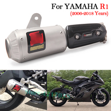 Slip on Motorcycle Exhaust Pipe Racing Escape Modified Muffler With Middle Connection Link Pipe For YAMAHA R6 YZF-R6 2006-2018 цена