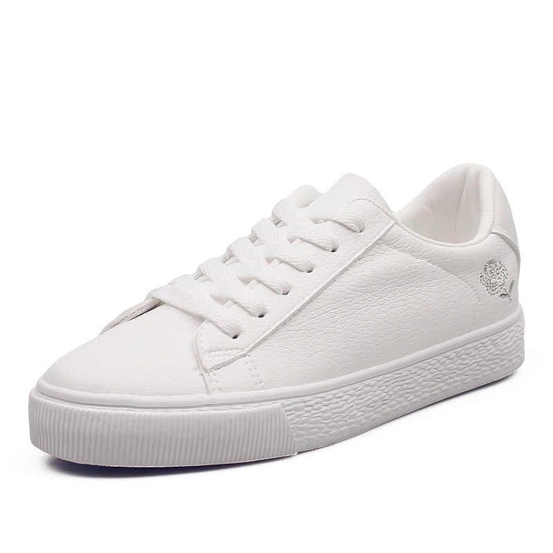 2020 moda casual plana baixo-topo tênis de renda estudantes meninas de alta qualidade verão outono esporte branco sapatos femininos
