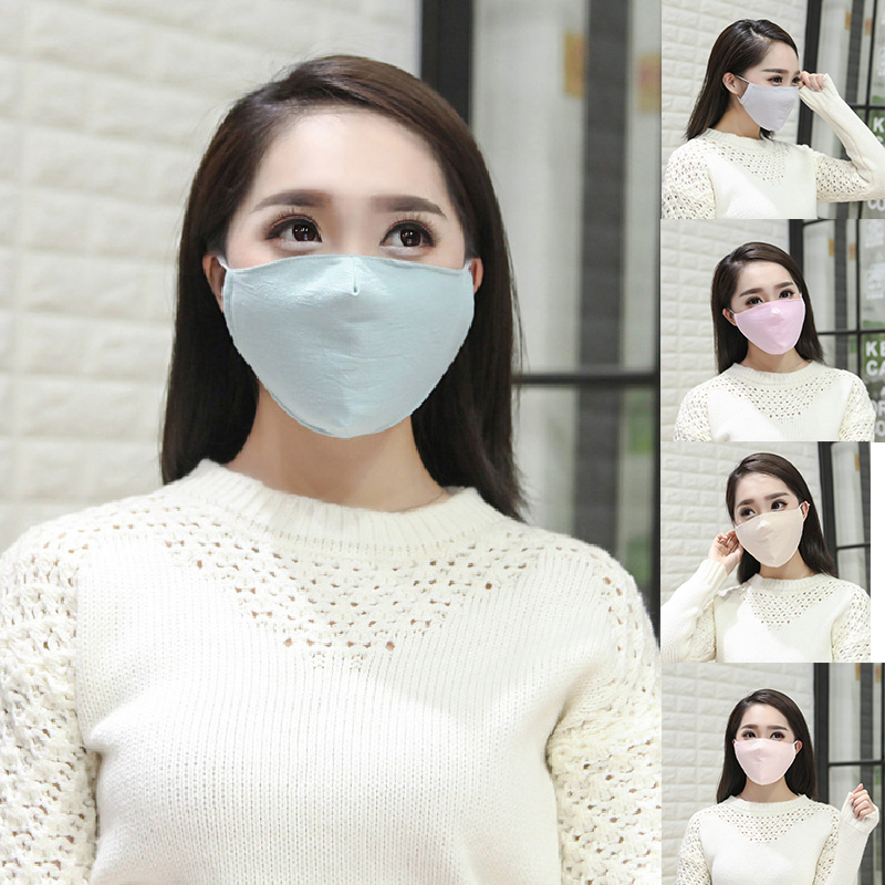 Solid Color Mouth Masks Women Riding Dust Protection Spring Cotton Linen Three-dimensional Masks Pink Breathable Mouth-muffle