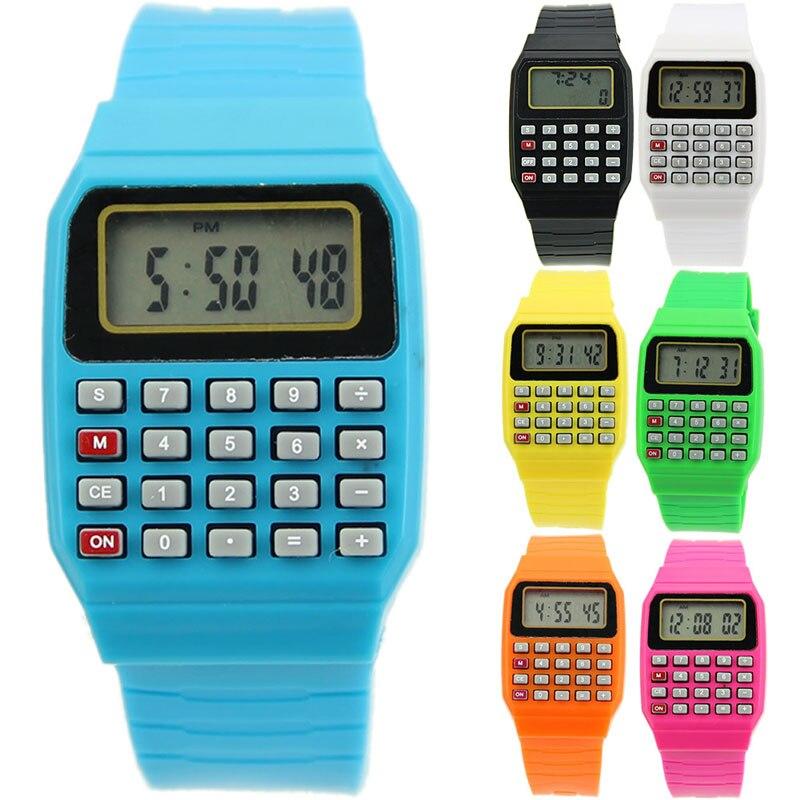 Çocuk elektronik hesap makinesi silikon tarih çok amaçlı tuş takımı kol saati 667C