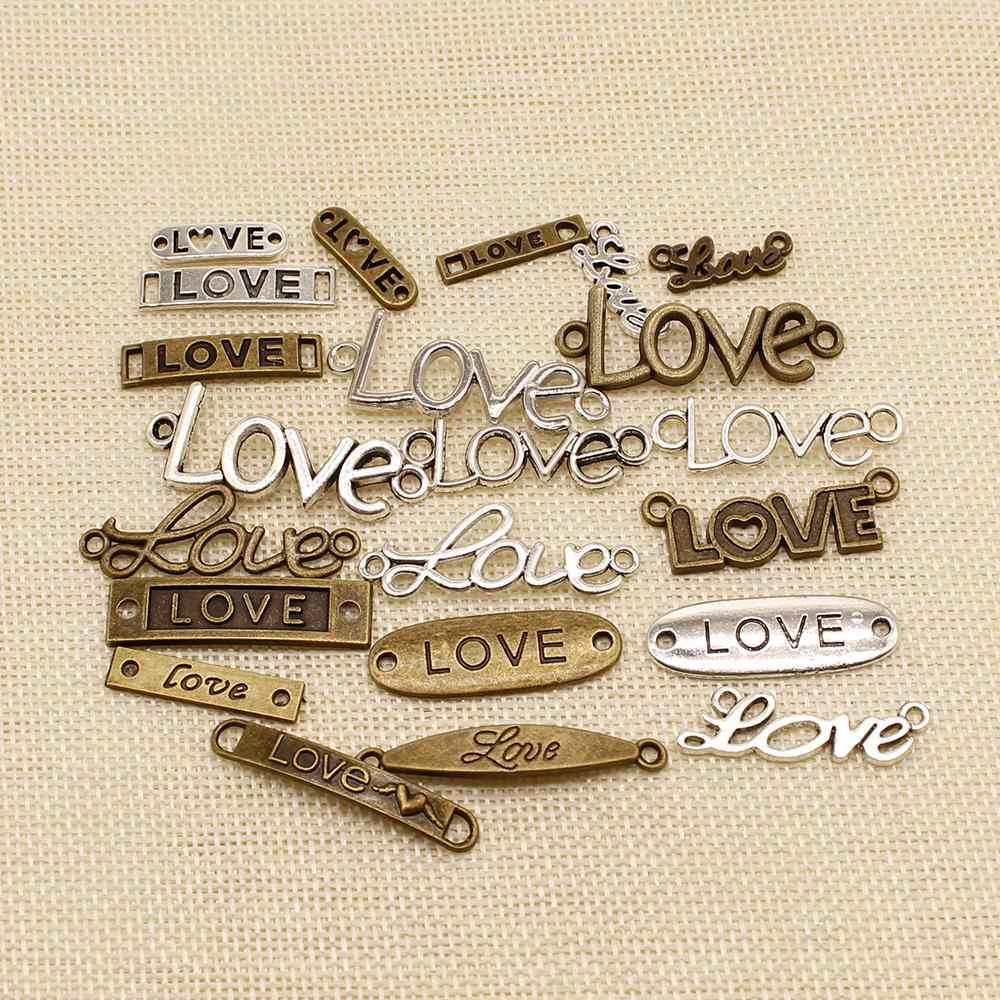 1 ชิ้นมือทำอุปกรณ์เครื่องประดับชิ้นส่วนเสน่ห์ข้อความรักแท็กเชื่อมต่อ hj148