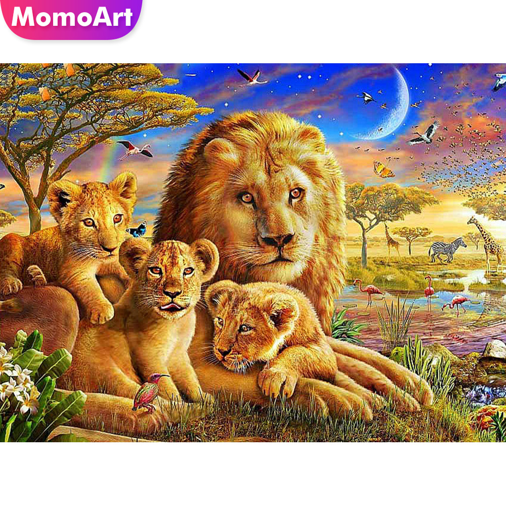 MomoArt Diamond Painting Lion Mosaic Animal Diamond Embroidery Full Drill Square Picture Rhinestone Home Decoration GIft in Diamond Painting Cross Stitch from Home Garden