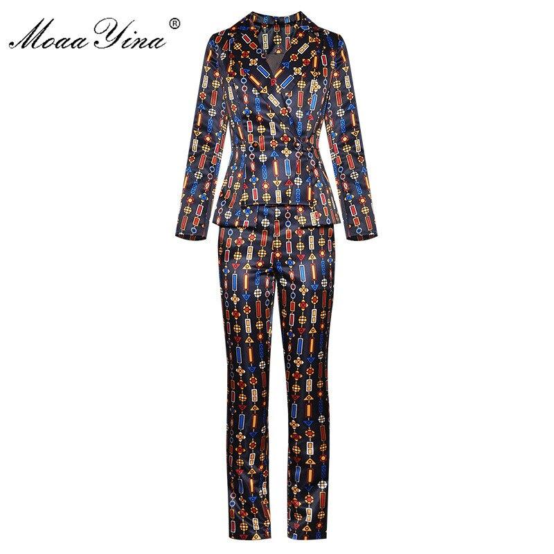MoaaYina Fashion Designer Suit Autumn Winter Women Long sleeve Stripe Print Suit Tops+Trousers Two-piece set