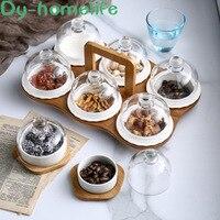 Nórdico com base de bambu e madeira cobertura de vidro grade cerâmica frutas placa de armazenamento da família lanche lanche bandeja de armazenamento de frutas secas