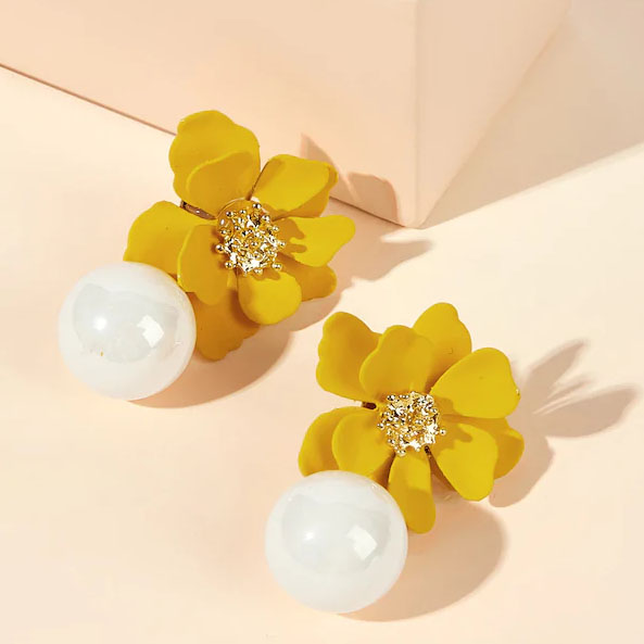Korea Cute Flower Earrings Fashion Jewelry Dangle Earring For Women Wedding Party Bohemian Pearl Earring Boucles D Oreille Femme