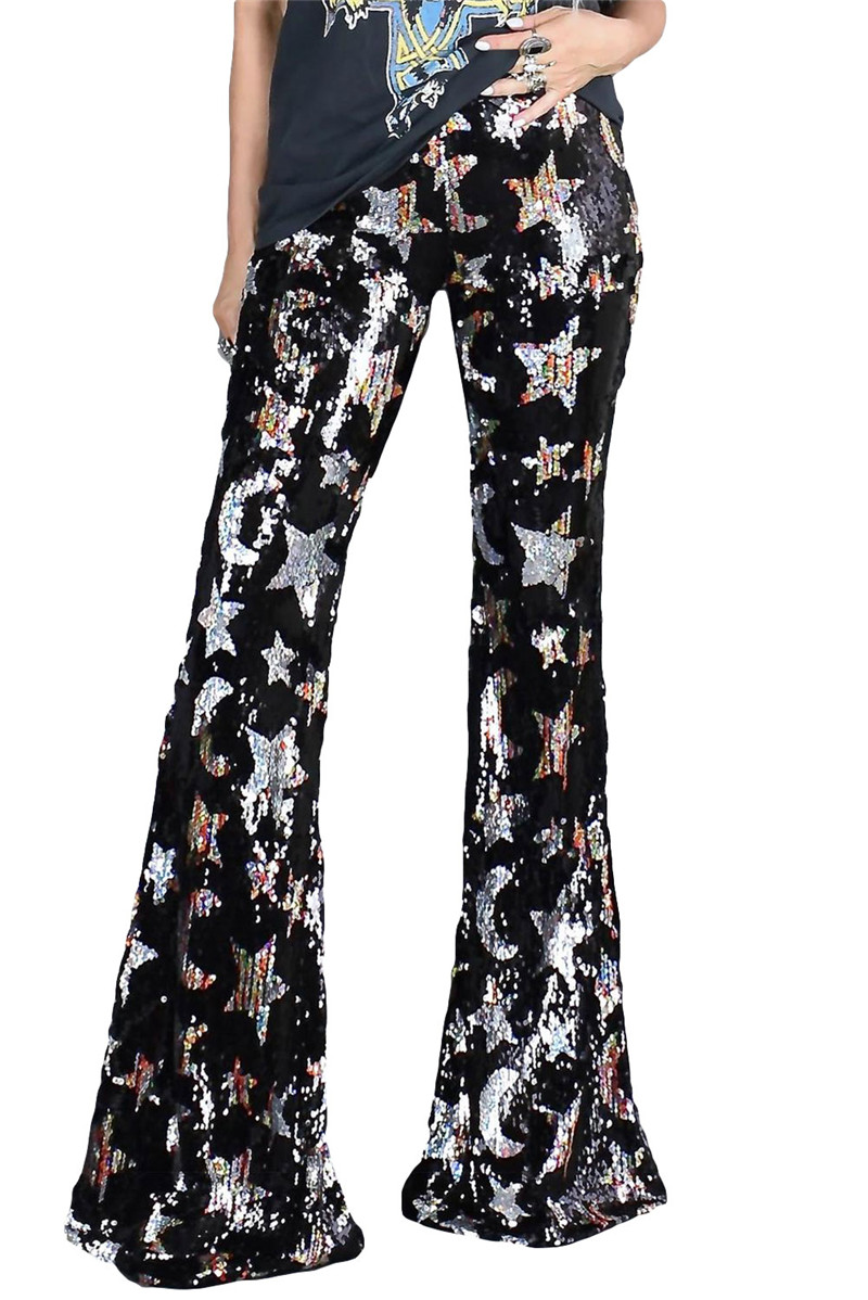 Women Shining Stars Sequined Wide Flare Pants Fashion Reflects Cut Fit Stylish Street Trend Trousers Bottoms Sweatpants Joggers