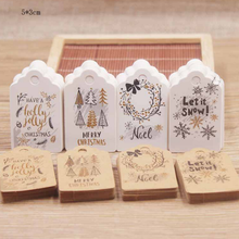 50Pcs/Lot 5*3cm Lovely Christmas Tags Kraft Paper Cards Gift Label Tag DIY Hanging Cards Gift Wrapping Decor Mini Gift Cards