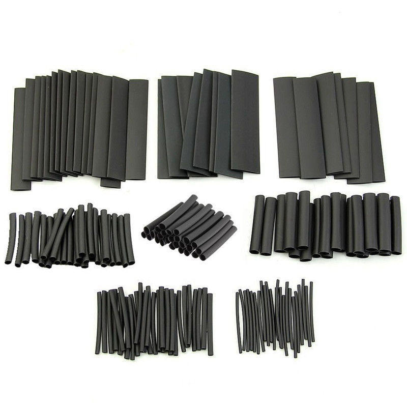 Cable Sleeving-Tube Electrical-Wire-Wrap Shrinkage Black Waterproof Assortment-Kit 127pcs