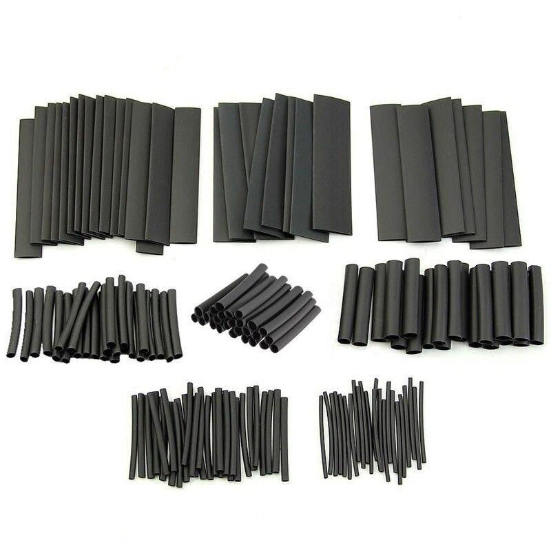 127 pièces thermorétractable gaine Tube assortiment Kit connexion électrique fil électrique enveloppement câble étanche rétrécissement 21 noir