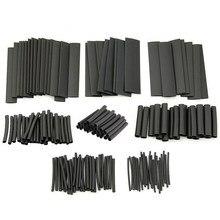 Kit d'assortiment de tubes et manchons thermorétractables, 127 pièces, connexion électrique, câble enroulé, étanche, noir, 2:1