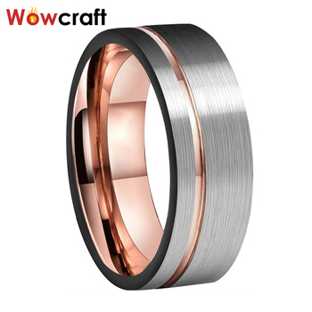 8mm Rose Gold Mens Tungsten Ring Women Wedding Bands Engagement Ring Offset Grooved Silver Matte Finished Comfort Fit