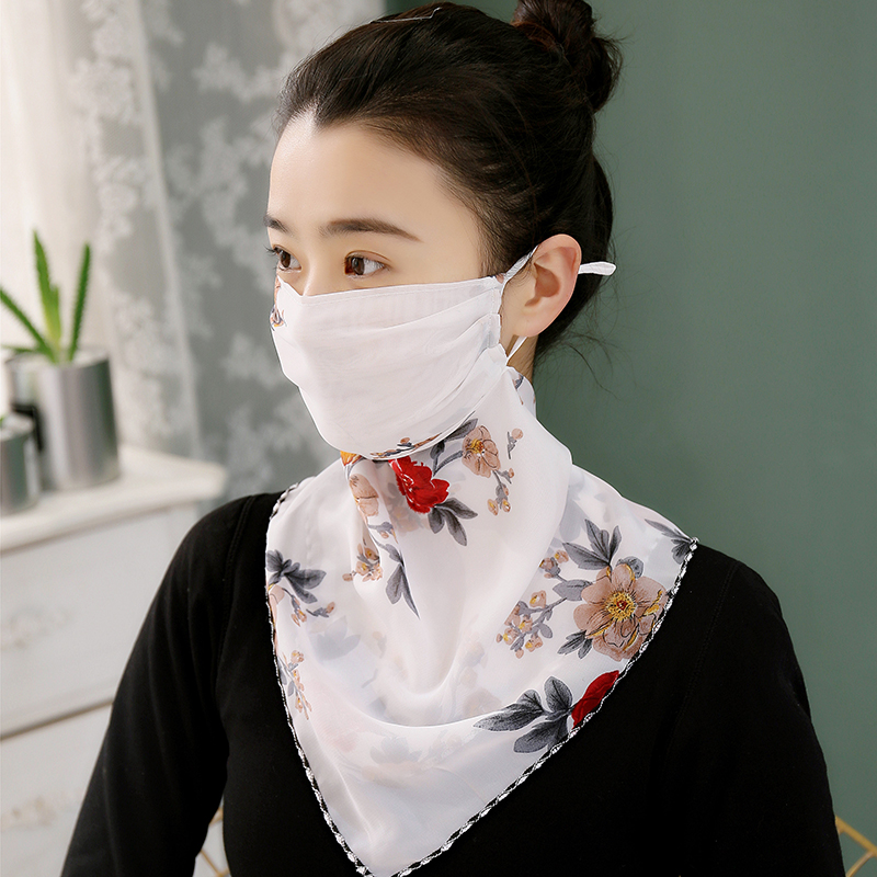 New Sunscreen Mask Neck Protection Thin Summer Breathable Silk Scarf Full Covering Chiffon Triangle Scarf Outdoor Riding(China)
