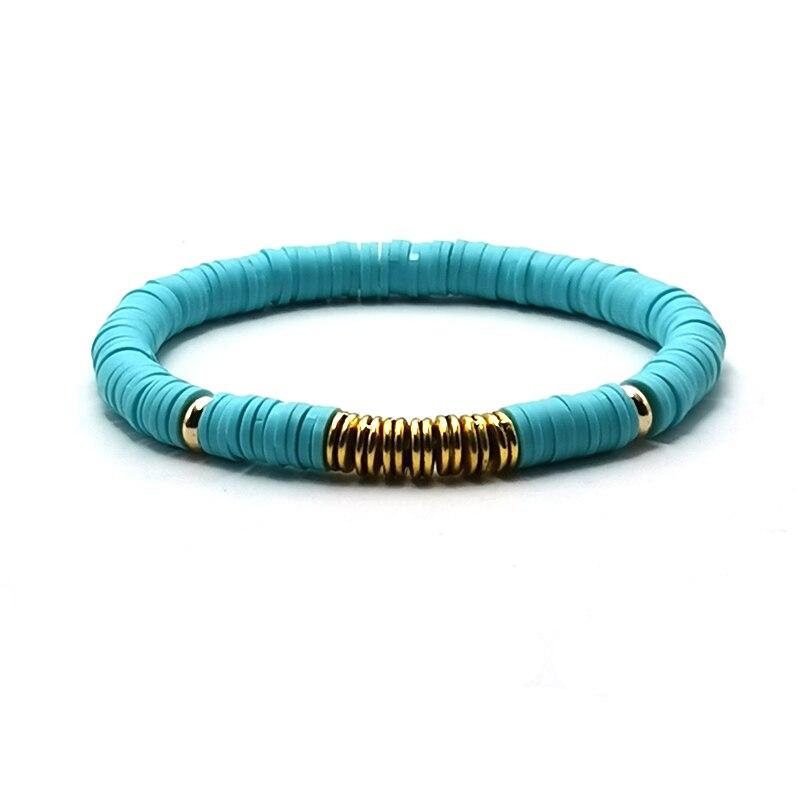 6mm Handmade Ethnic Polymer Clay Bracelet For Women Men Adjustable Bohemian Beads Charm Bracelet Couple Beach Accessory