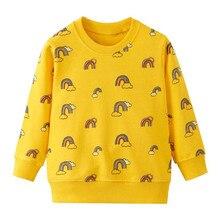 Girls Sweatshirts Winter Clothes Cartoon Rainbow Printed Cotton T shirt for Baby Girls Cute Long Sleeve Baby Girls Warm Tops