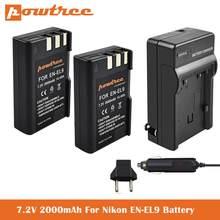 7,2 V 2000 мА/ч, EN-EL9 Батарея + DC15 автомобиля Зарядное устройство для Nikon D40 D40X D60 D3000 D5000 цифровой Камера как EN-EL9A замена батареек
