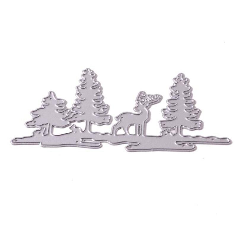 OOTDTY Christmas Tree Elk Metal Cutting Dies Stencil Scrapbooking Handmade DIY Album Stamp Paper Card Embossing Decoration Craft Cutting Dies  - AliExpress