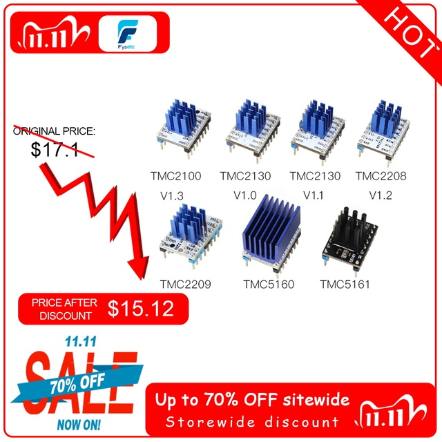 5個TMC2100 V1.3 TMC2130 TMC2208 TMC2209 v3.1 TMC5160 TMC5161ステッピングモータstepstickミュートドライバサイレント3Dプリンタ部品