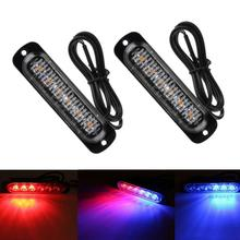 2PC 6 LED Car Led Emergency Strobe Light For Universal Vehicles Trucks Off Road Motorcycle Flashing Pattern  Red Blue Amber Colo цена
